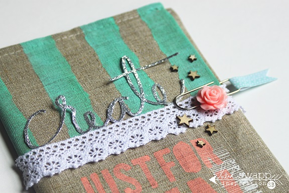 A handmade journal cover by @sarahbargo for @heidiswapp using the fabulous Wanderlust Collection! #heidiswapp #hsWanderlust #mixedmedia #notebook #journal