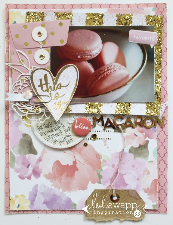 A pink & gold layout by @sarahbargo for @heidiswapp using the Stamp & Stencil Kits from the Wanderlust Collection! #heidiswapp #scrapbooking #hsWanderlust #glitter #gold #mixedmedia
