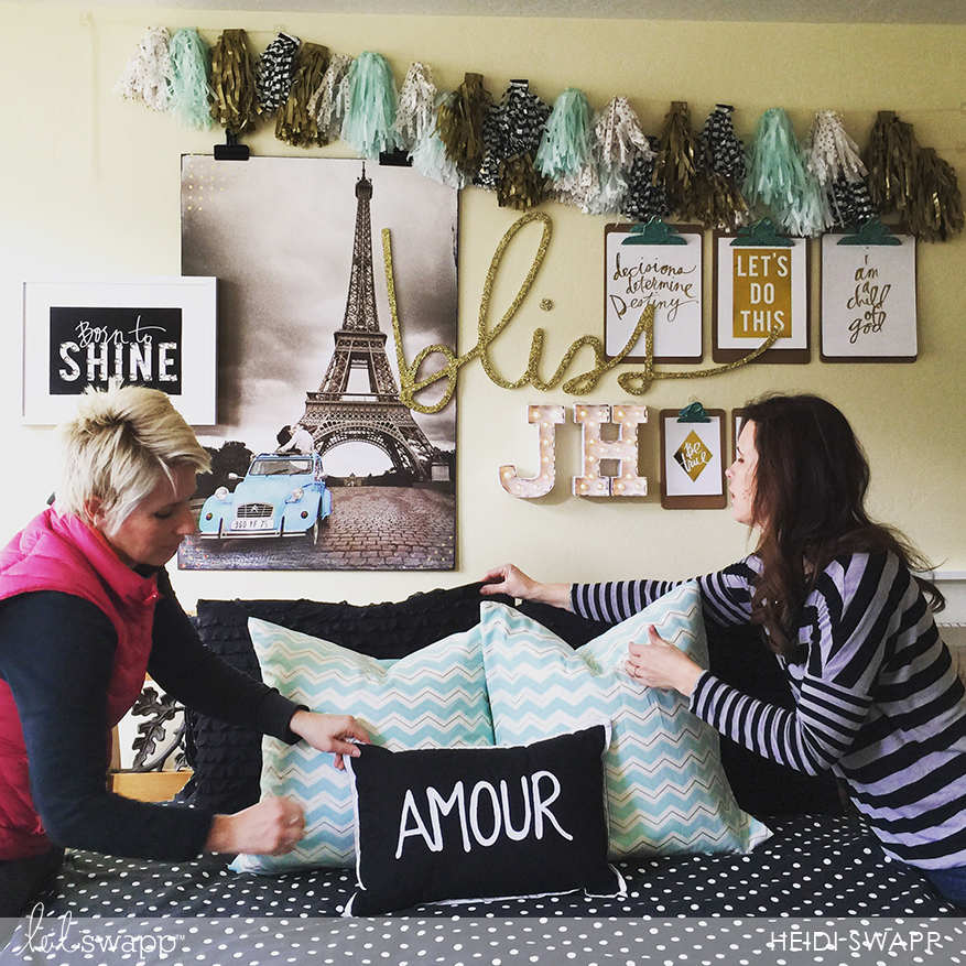 hang prints with clips and clipboards. fun idea to layer pieces @heidiswapp