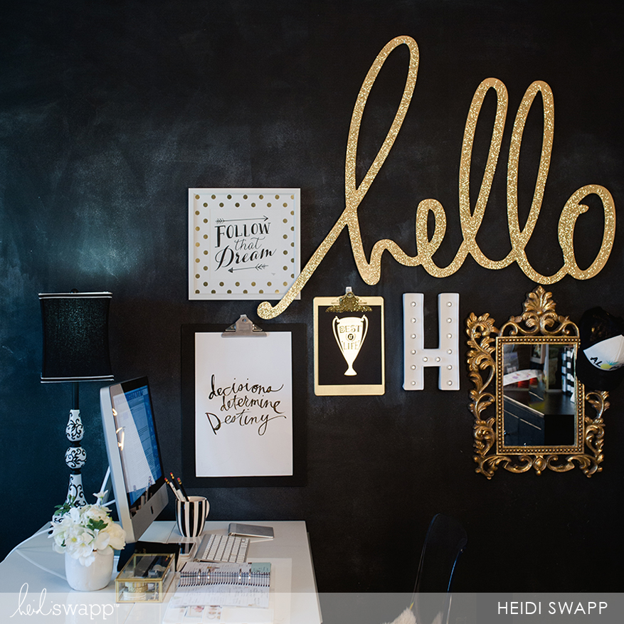 stay inspired in your office with a gallery wall @helloheidiwallart
