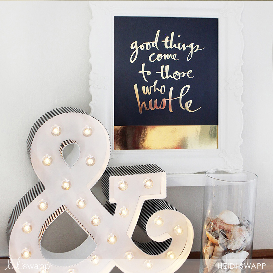 Mini gallery vignette with gold prints and marquee lights @heidiswapp