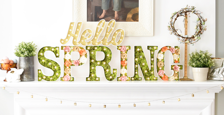 Spring Marquee Mantel by Natalie Wright for @heidiswapp