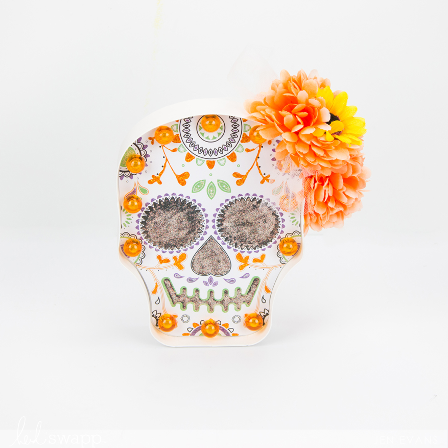 Sugar Skull coloring with glitter glue marquee by @createoften for @heidiswapp