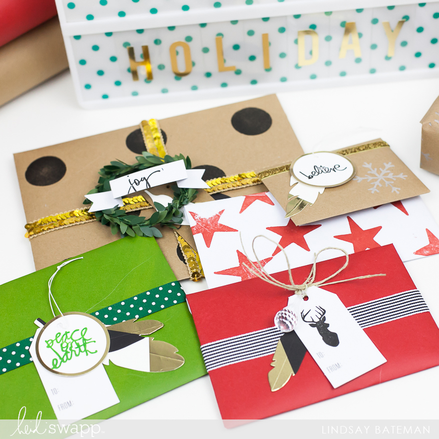 create custom holiday card envelopes using @heidiswapp DIY gift wrap collection