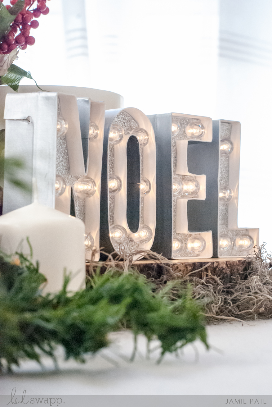 Heidi Swapp NOEL Christmas In LIghts Centerpiece by Jamie Pate |@jamiepate for @heidiswapp