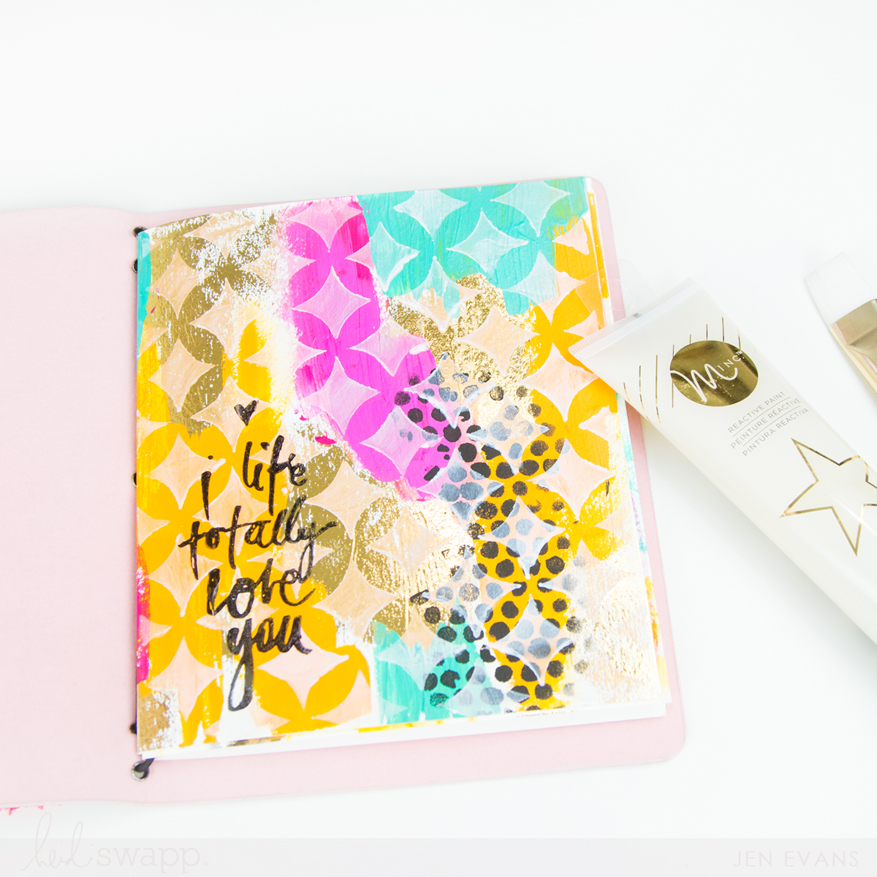 Foiled mixed media art journal page with the @heidiswapp Minc by @createoften