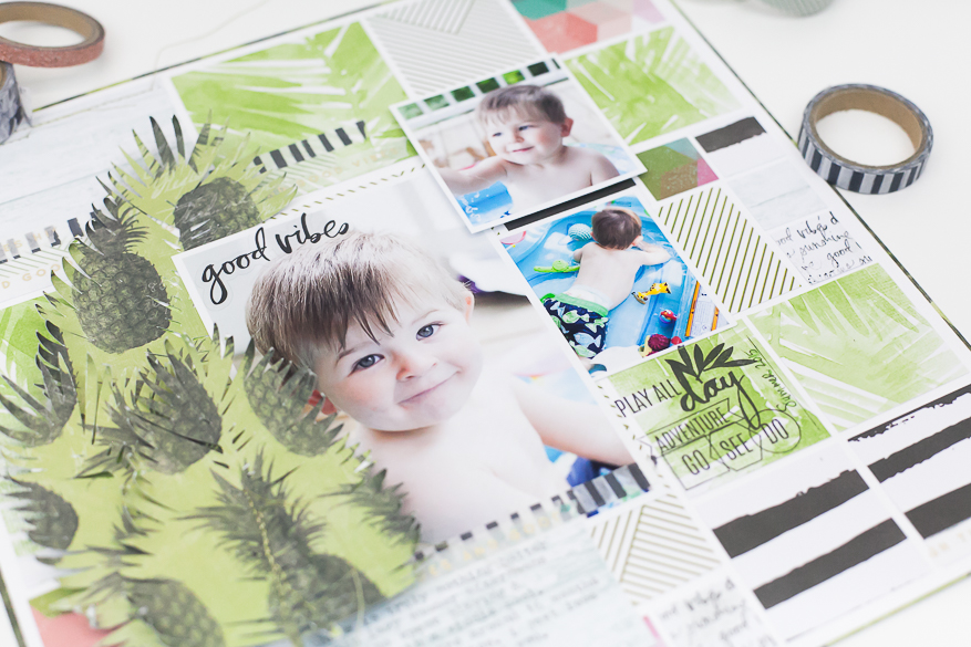 pineapple crush scrapbook page I @lindsaybateman for @heidiswapp