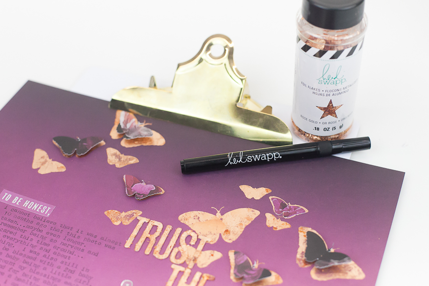 how to use foil flakes with the glue pen I @lindsaybateman for @heidiswapp