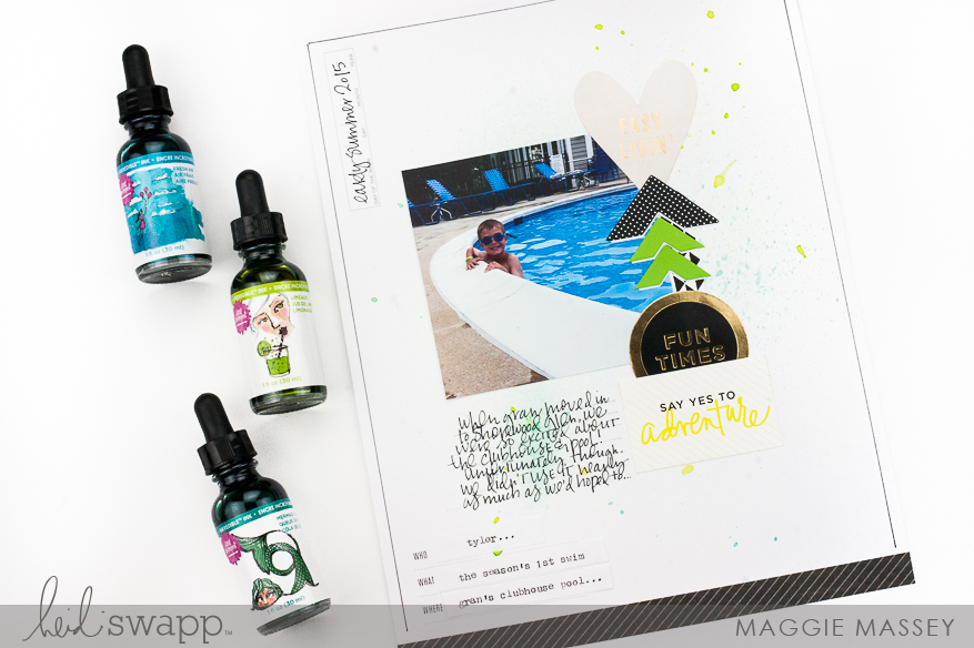 Using the new Jane Davenport Inkredible Ink on your Storyline layouts | Maggie Massey for Heidi Swapp