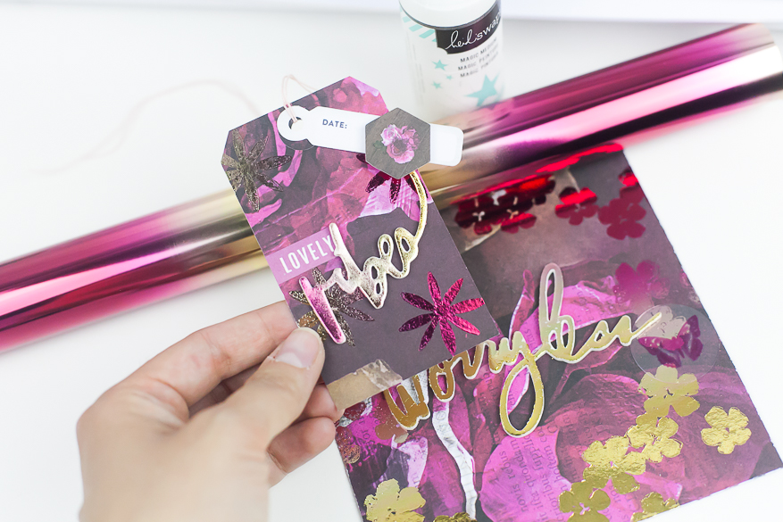use magic medium and rubber stamping I @lindsaybateman for @heidiswapp