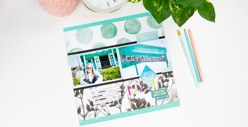 Go Bold with Color on a Scrapbook Page   Using Pineapple Crush collection by @createoften for @heidiswapp