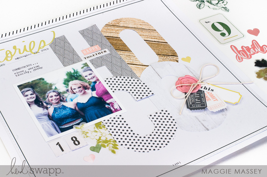 Heidi Swapp Emerson Lane :: a layout using the WRMK Alphabet Punch Board | Maggie Massey for Heidi Swapp
