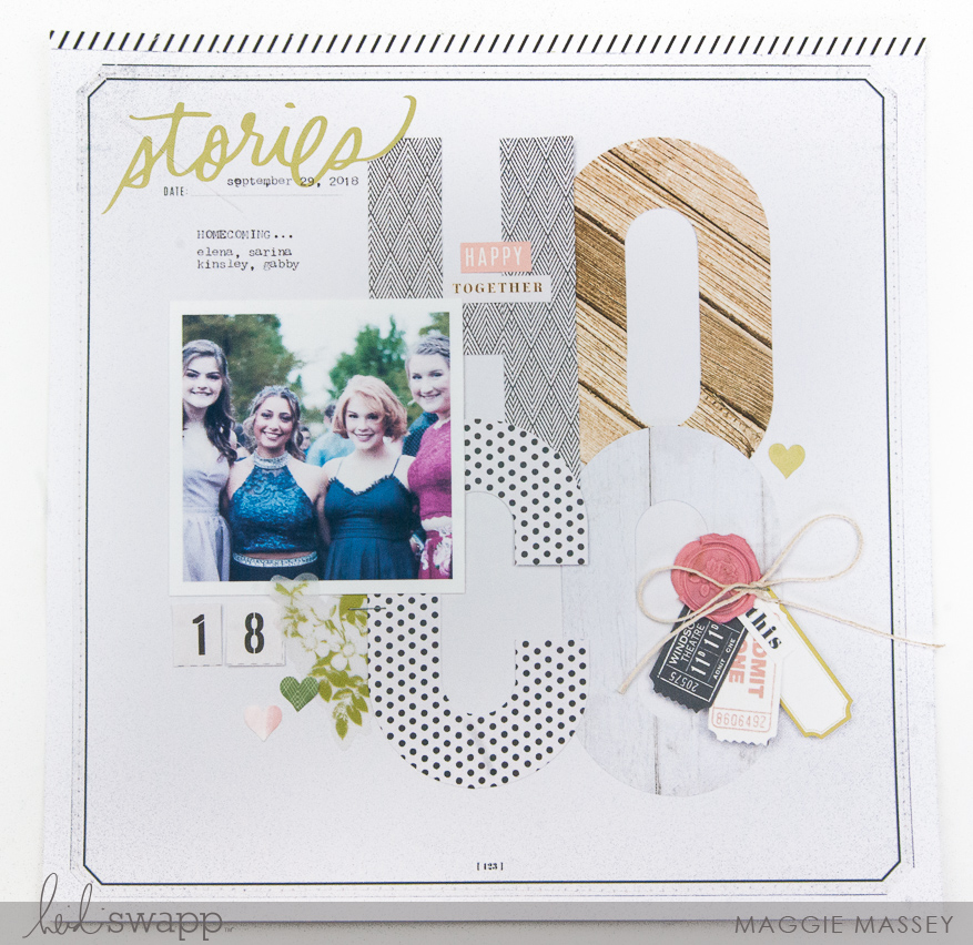 Heidi Swapp Emerson Lane :: a layout using the WRMK Alphabet Punch Board   Maggie Massey for Heidi Swapp