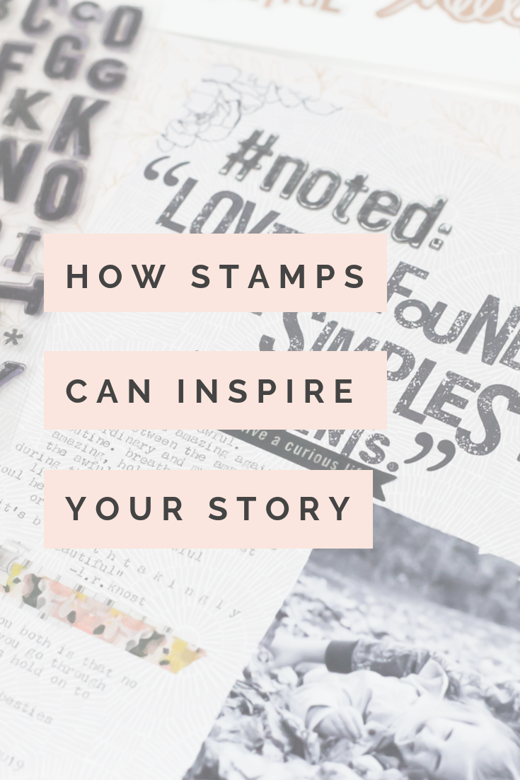 How Stamps Can Inspire Your Story | Stamping on your scrapbook page by Lindsay Bateman for Heidi Swapp