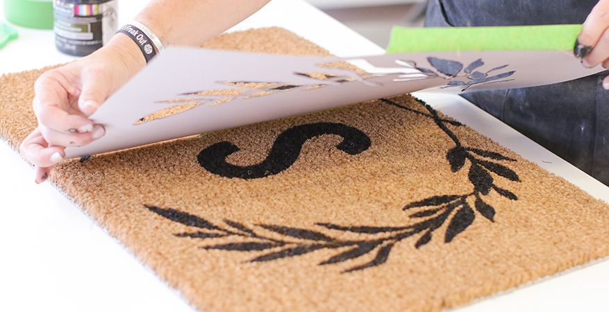Introducing Heidi Swapp DIY Door Mat Stencils to create easy custom diy door mats for everyday and holidays