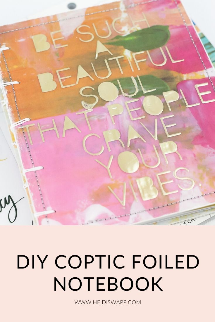 Create this diy coptic notebook using foiled texture paste on the front cover! @heidiswapp